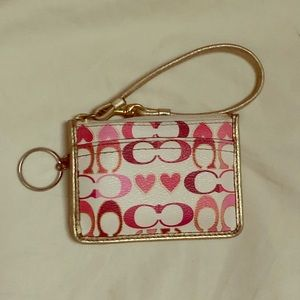 Coach Signature White & Pink Heart Leather Wallet
